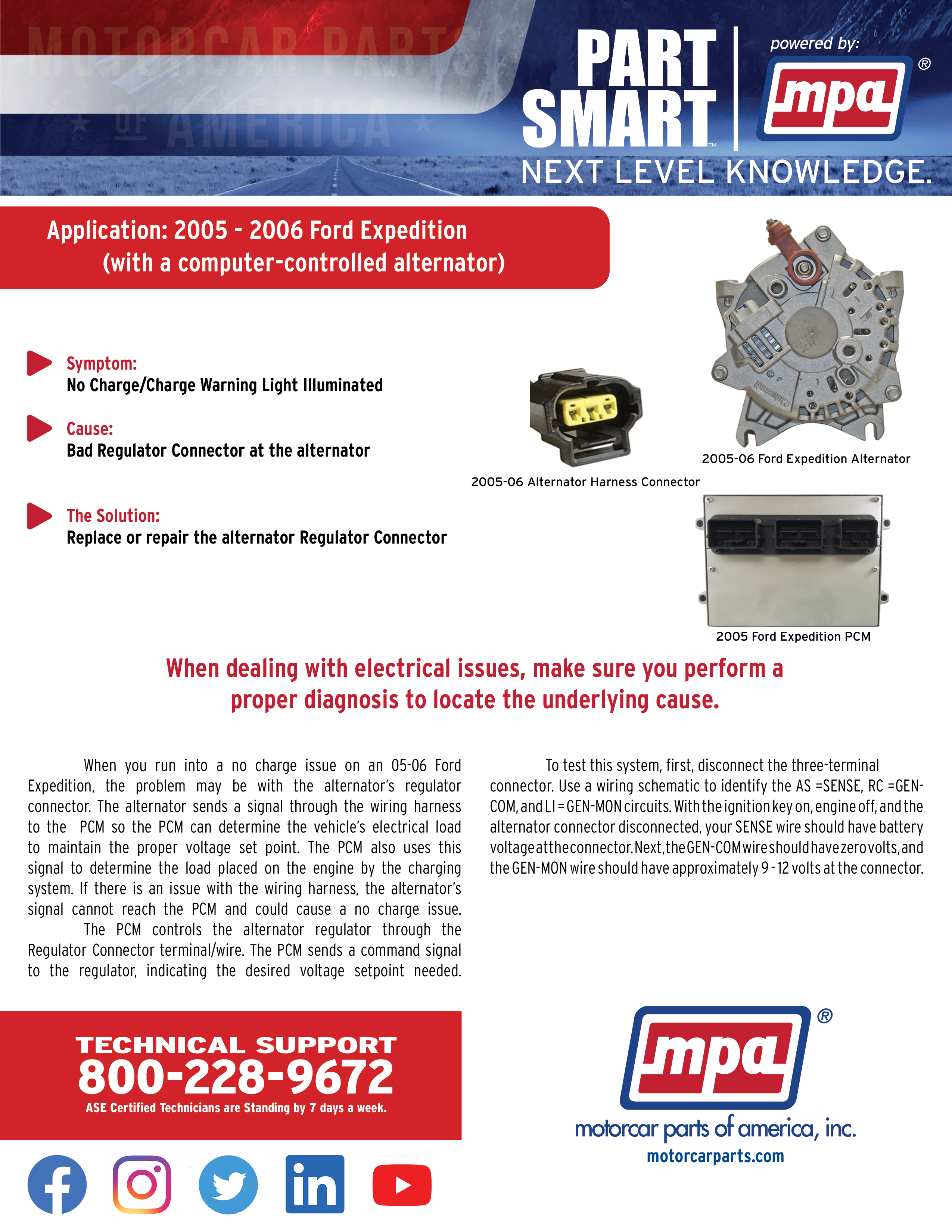 Latest Part Smart Article: A bad alternator regulator connector can cause a  no charge issue or your charge warning light to illuminate on 2005-06 Ford  Expeditions. - Motorcar Parts of AmericaMotorcar Parts of America
